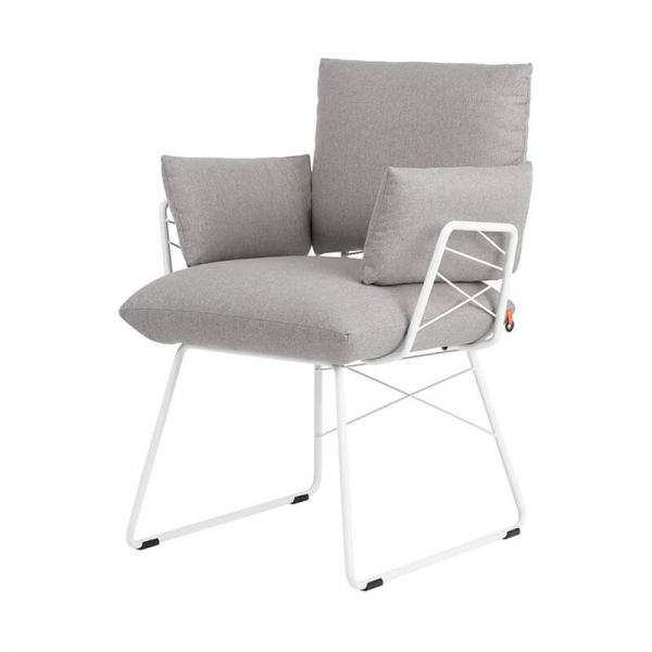 Fauteuil moderne confortable assise en tissu gris et pieds en métal blanc - Cosy Mobitec® - 19