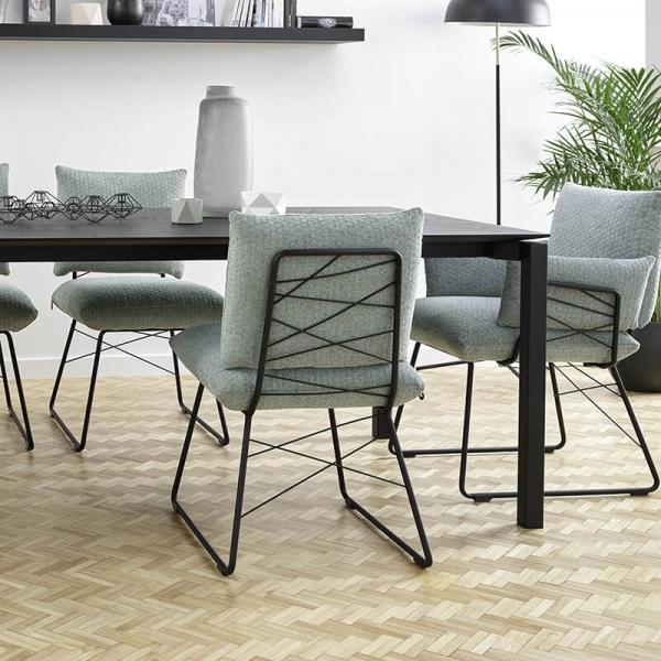 Fauteuil confortable assise en tissu vert et pieds en métal noir - Cosy Mobitec - 2