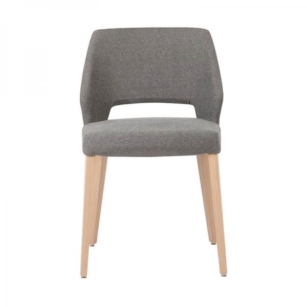 Chaise rembourrée en tissu gris et pieds bois style moderne - Lena Mobitec® - 8