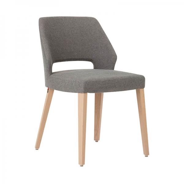 Chaise ajourée en tissu gris et pieds bois style moderne - Lena Mobitec® - 6