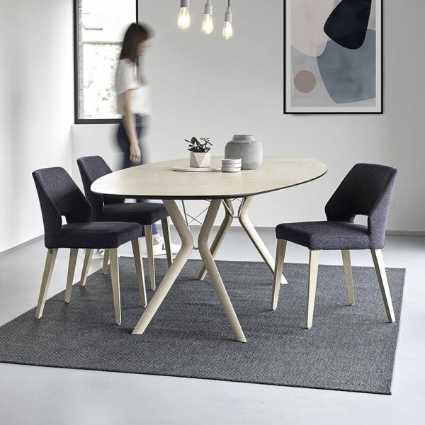Chaise ajourée en tissu gris et pieds bois naturel - Lena Mobitec® - 11