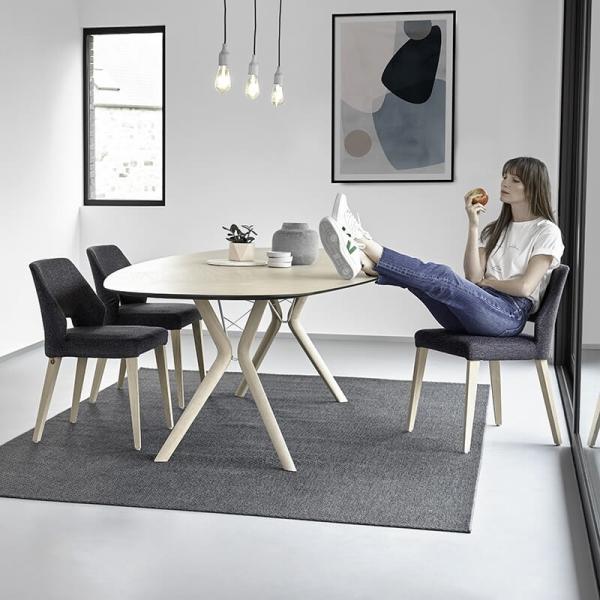Chaise ajourée en tissu et pieds bois style moderne - Lena Mobitec® - 12