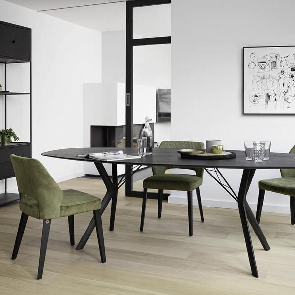 Chaise ajourée en tissu et pieds bois style moderne - Lena Mobitec® - 17