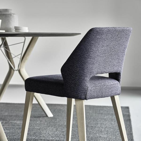 Chaise ajourée en tissu et pieds bois style moderne - Lena Mobitec® - 16