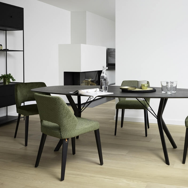 Chaise ajourée en tissu vert et pieds bois style moderne - Lena Mobitec® - 18