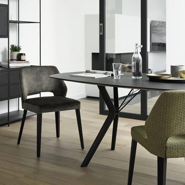 Chaise en tissu vert et pieds bois style moderne - Lena Mobitec® - 19