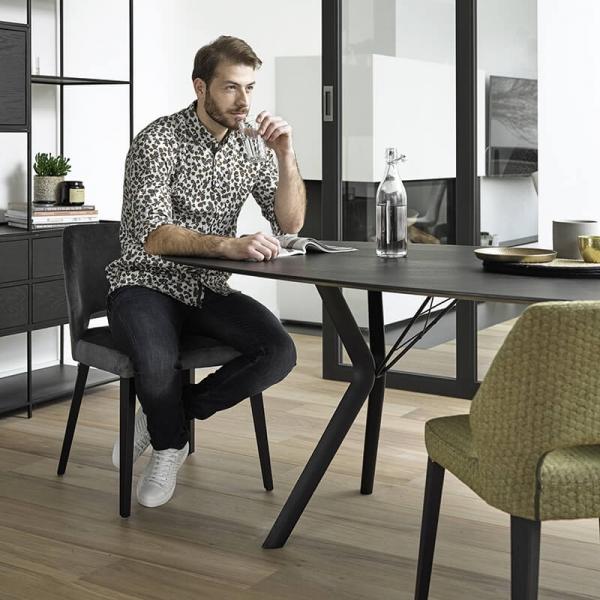 Chaise en tissu et pieds bois style moderne - Lena Mobitec® - 20