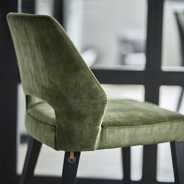 Chaise ajourée en tissu vert et pieds bois style moderne - Lena Mobitec® - 22