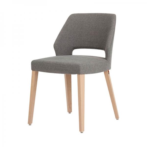 Chaise grise en tissu et pieds bois style moderne - Lena Mobitec® - 7