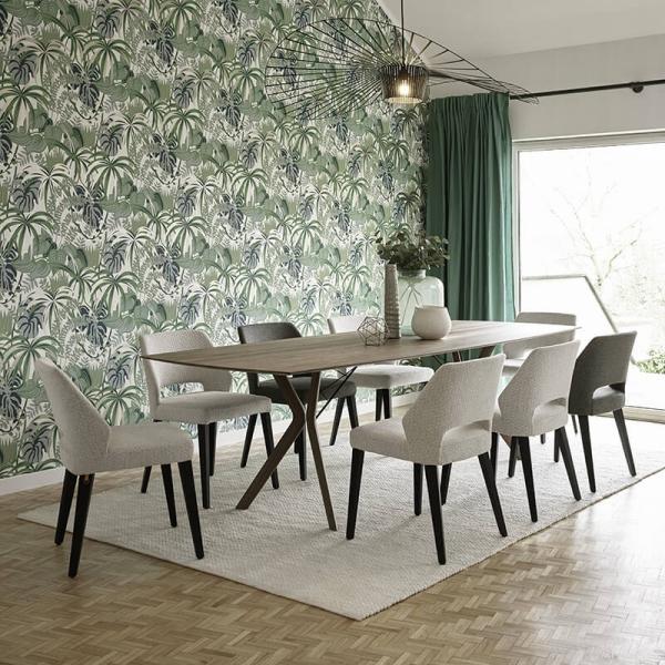 Chaise moderne ajourée en tissu et pieds bois - Lena Mobitec® - 3