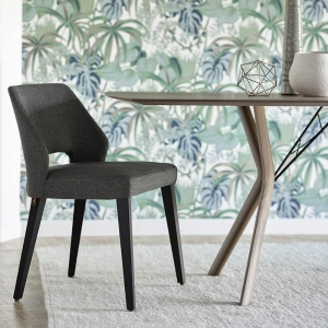 Chaise en tissu gris et pieds bois style moderne - Lena Mobitec®