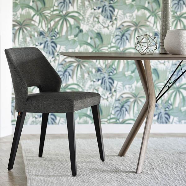 Chaise en tissu gris et pieds bois style moderne - Lena Mobitec® - 1