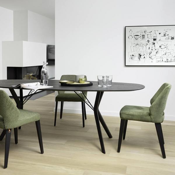 Chaise pieds bois et revêtement tissu vert style moderne - Lena Mobitec® - 24