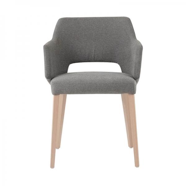 Fauteuil scandinave tissu gris et pieds en bois avec dossier ajouré - Lena Mobitec® - 3
