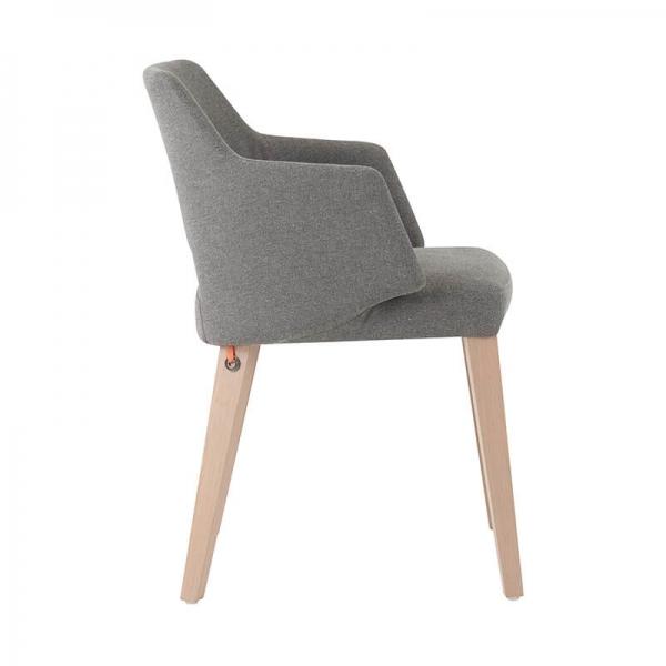 Fauteuil style scandinave tissu gris et pieds en bois avec dossier ajouré - Lena Mobitec® - 4