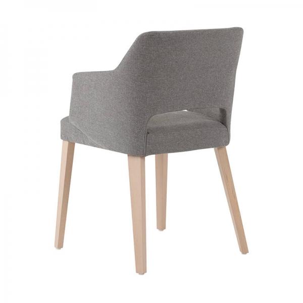 Fauteuil nordique tissu gris et pieds en bois avec dossier ajouré - Lena Mobitec® - 5