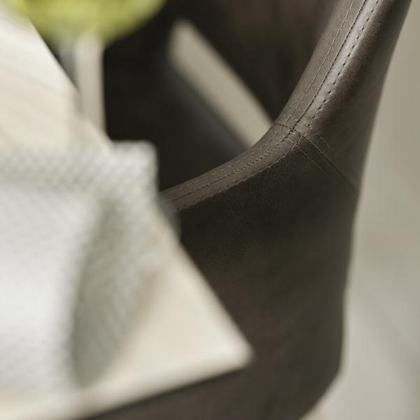 Fauteuil nordique tissu gris pieds en bois naturel avec dossier ajouré - Lena Mobitec® - 9
