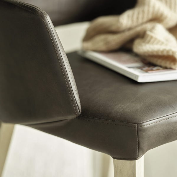 Fauteuil scandinave tissu gris avec dossier ajouré - Lena Mobitec® - 10