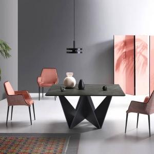 Table design carrée plateau céramique effet marbre et pied original en bois - Origami