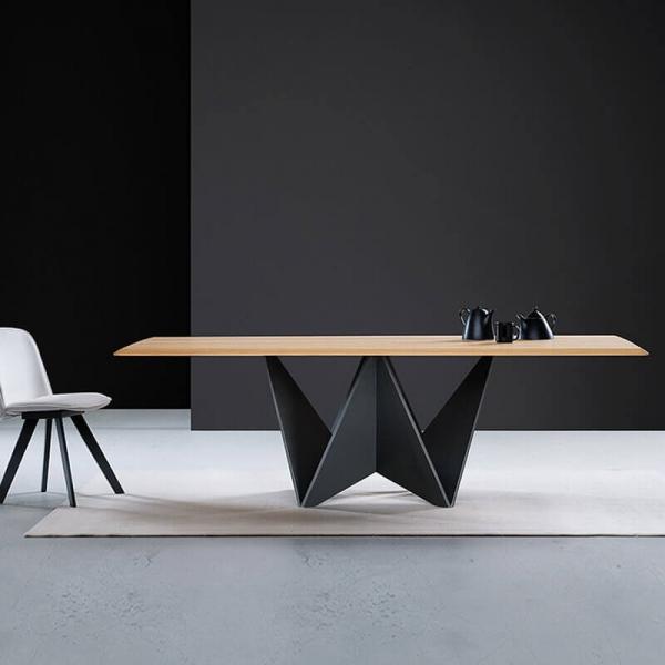 Table extensible design italien pied original et plateau en bois - Origami  - 3