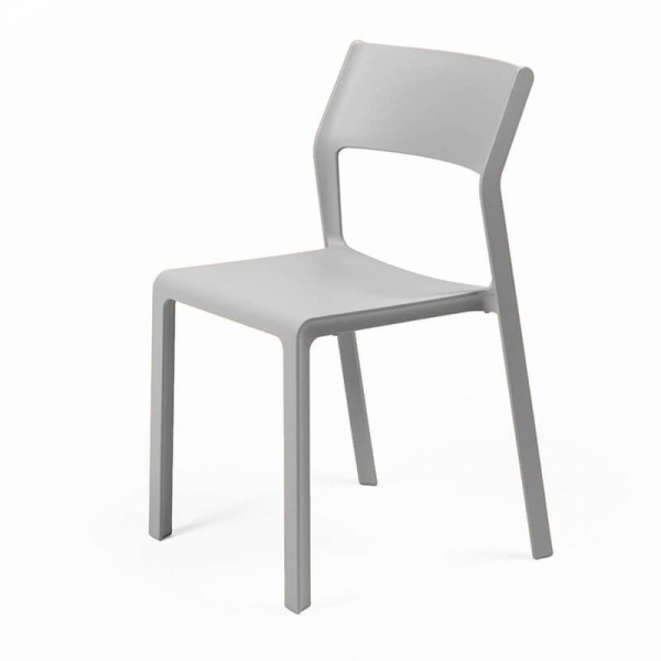 Chaise moderne en plastique grise empilable - Trill bistrot - 22