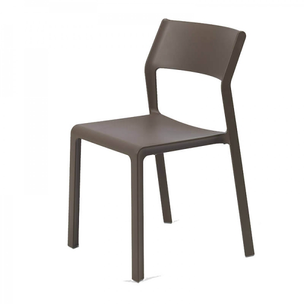 Chaise moderne en polypropylène marron tabac empilable - Trill bistrot - 16