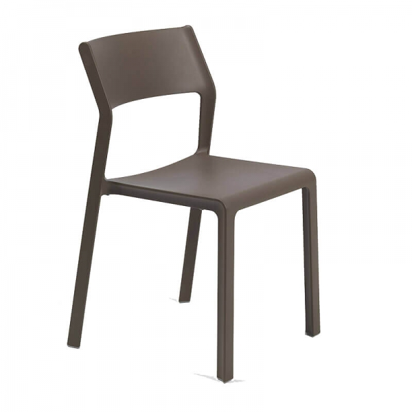Chaise moderne en plastique marron tabac empilable - Trill bistrot - 15