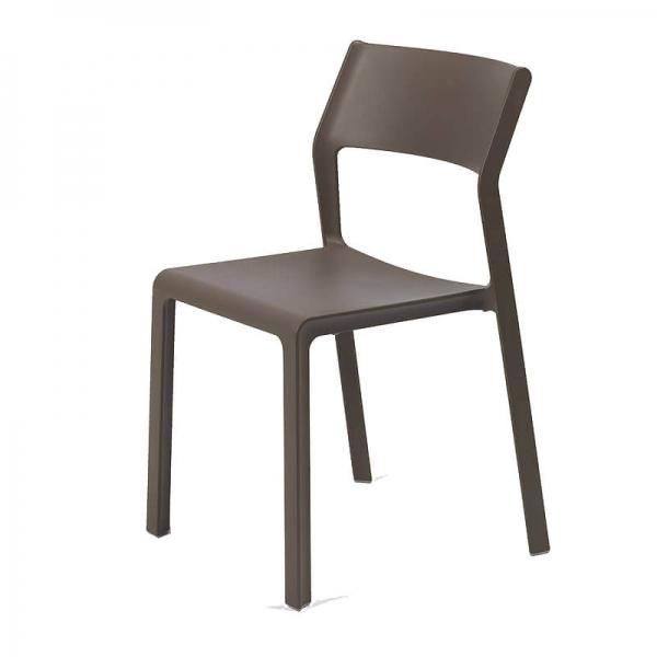 Chaise d'extérieur empilable en polypropylène marron tabac - Trill bistrot - 16