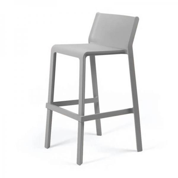 Tabouret de bar de jardin empilable en plastique gris - Trill stool - 21