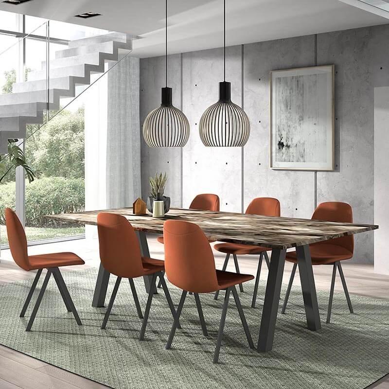 Chaise de salle à manger moderne en tissu - Ona