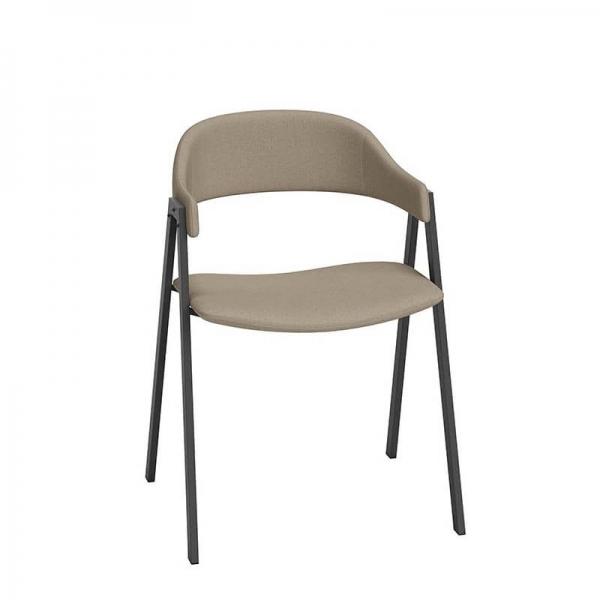 Chaise avec accoudoirs beige - Arca - 5