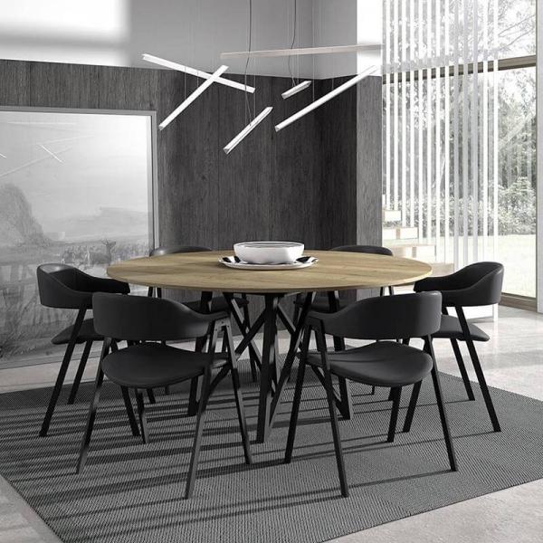 Fauteuil de table noir avec accoudoirs - Arca - 6