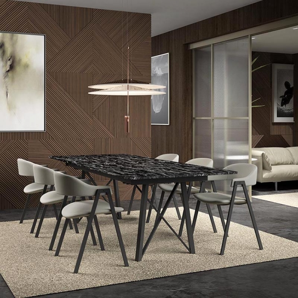 Fauteuil de table en tissu gris - Arca - 6