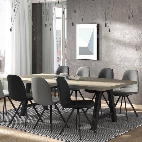 Chaise pivotante de salle à manger en tissu gris - Girona - 5