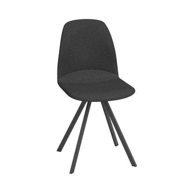 Chaise de salle à manger pivotante noire moderne - Girona - 1
