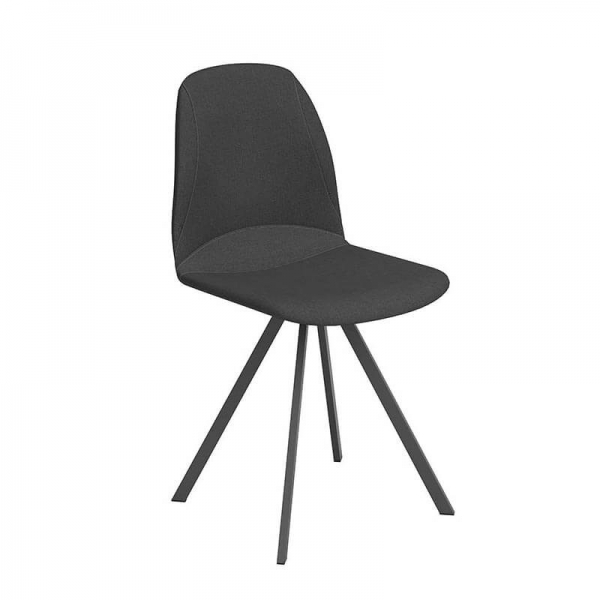 Chaise de salle à manger noire tournante - Girona - 5