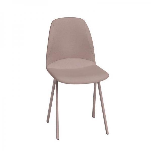 Chaise de salle à manger moderne rembourrée rose - Ona - 1