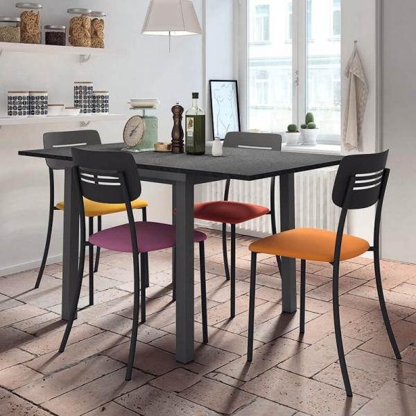 Chaise de cuisine assise rembourrée avec pieds et dossier en métal noir - Miro - 7
