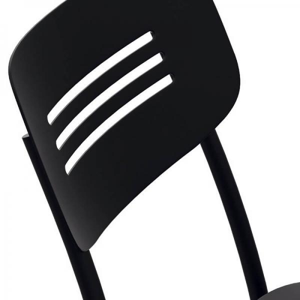 Chaise de cuisine en métal noir avec dossier strié - Miro - 6