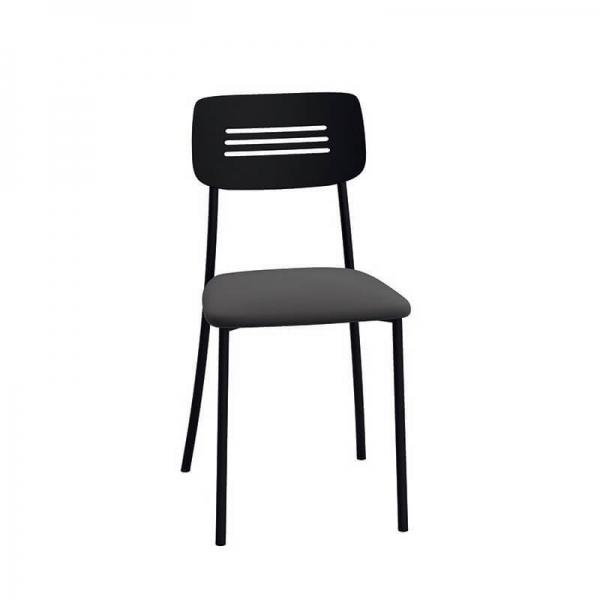 Chaise de cuisine rembourrée avec pieds et dossier en métal - Miro - 4