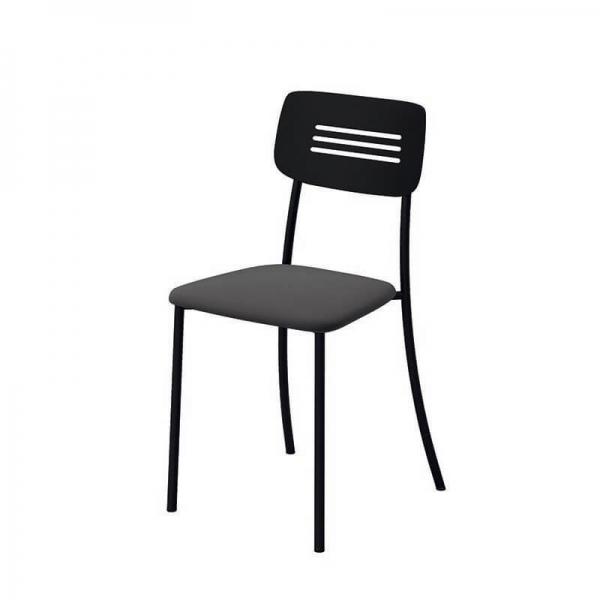 Chaise de cuisine noire rembourrée avec pieds et dossier en métal - Miro - 2