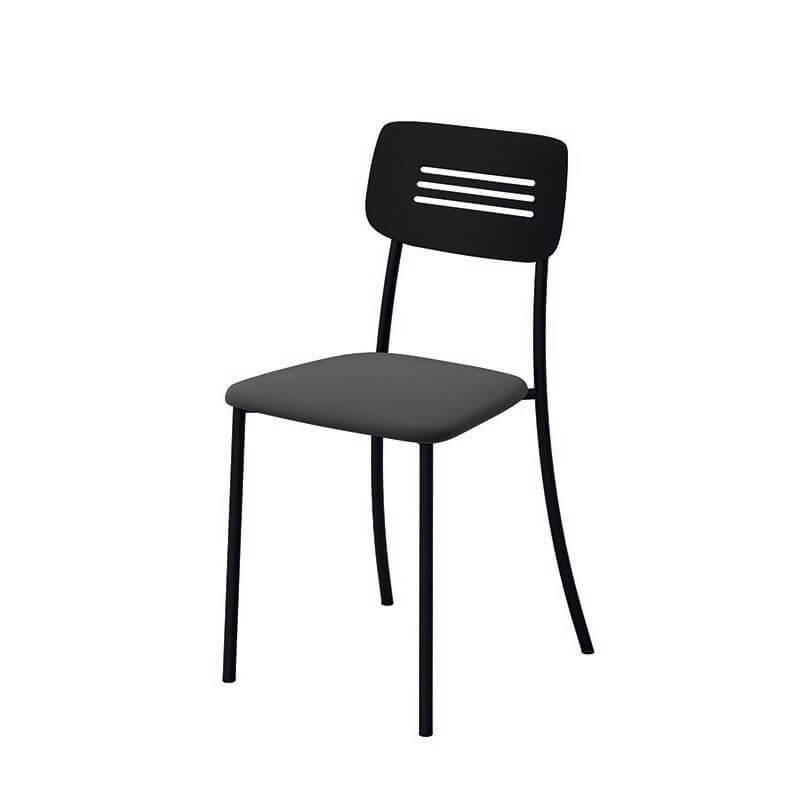 Chaise de cuisine rembourrée avec pieds et dossier strié en métal Miro 2