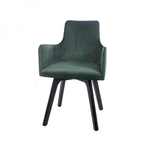 Fauteuil design en tissu vert et pieds en bois noir - Anders - 7