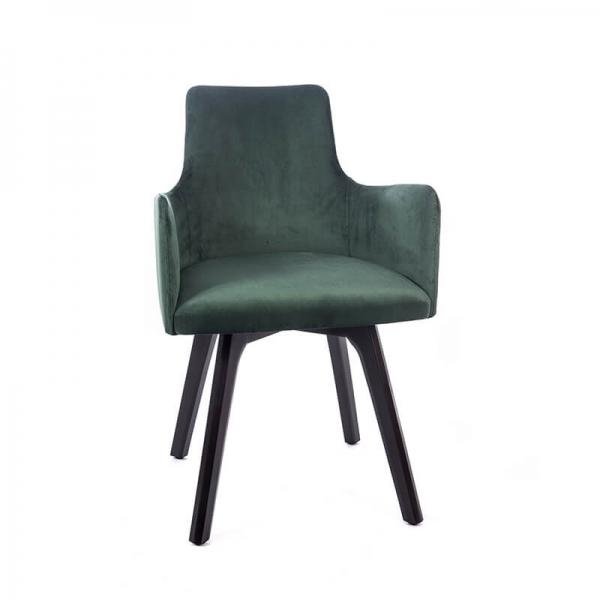 Fauteuil cocooning en tissu vert et pieds en bois noir - Anders - 6