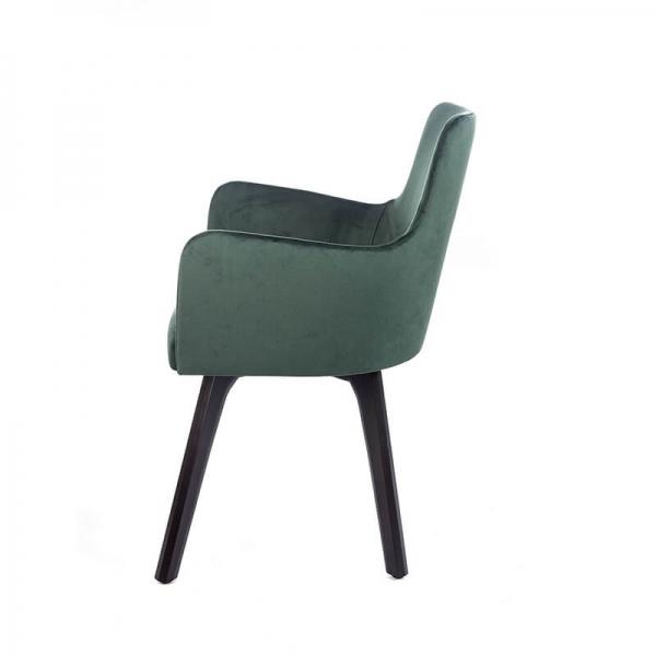 Fauteuil cosy en tissu vert et pieds en bois noir - Anders - 9