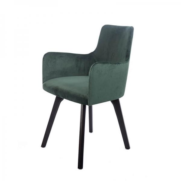Fauteuil confortable en tissu vert et pieds en bois noir - Anders - 8