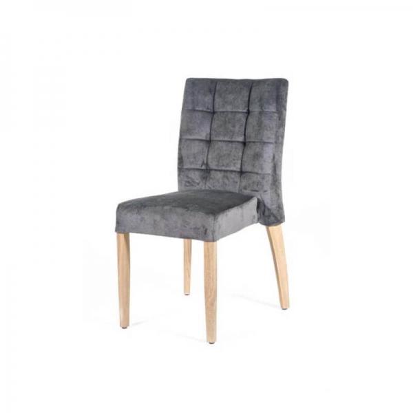 Chaise matelassée grise en tissu style contemporain - Matias 2 stack  - 4