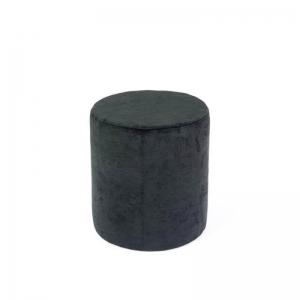 Pouf rond en tissu gris foncé - Rondo