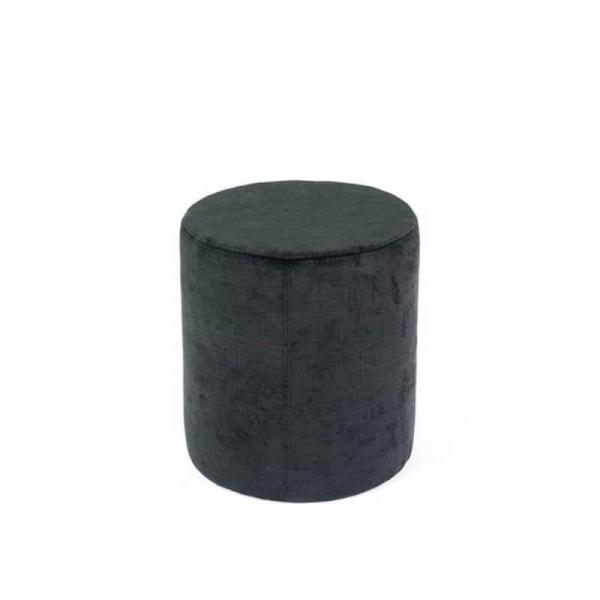 Pouf rond en tissu gris foncé - Rondo - 1