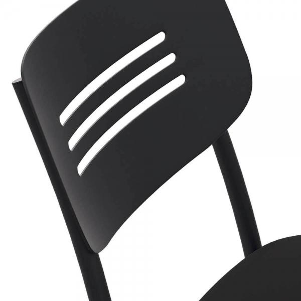 Chaise de cuisine rembourrée avec pieds et dossier strié en métal - Miro - 4